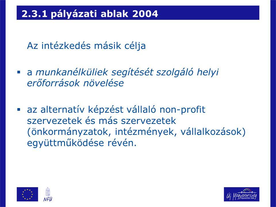 2.3.1 pályázati ablak 2004 Az intézkedés másik célja. a munkanélküliek segítését szolgáló helyi erőforrások növelése.