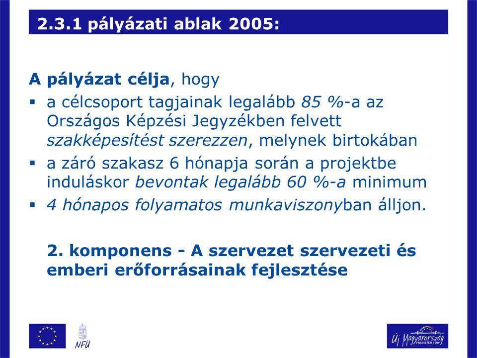 2.3.1 pályázati ablak 2005: A pályázat célja, hogy.