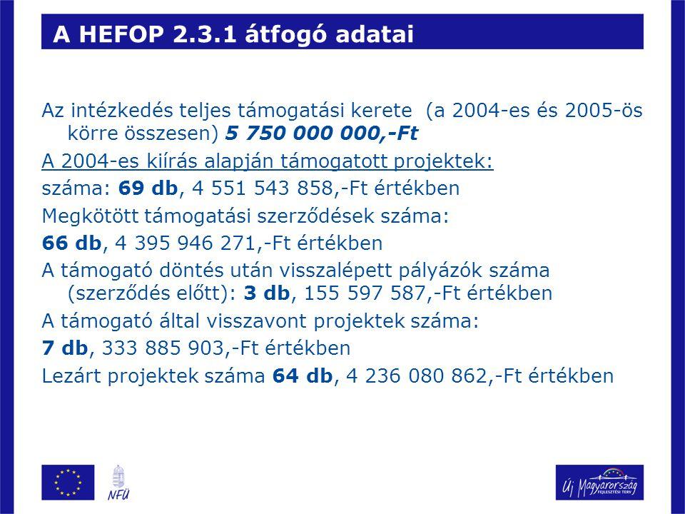 A HEFOP 2.3.1 átfogó adatai Az intézkedés teljes támogatási kerete (a 2004-es és 2005-ös körre összesen) 5 750 000 000,-Ft.