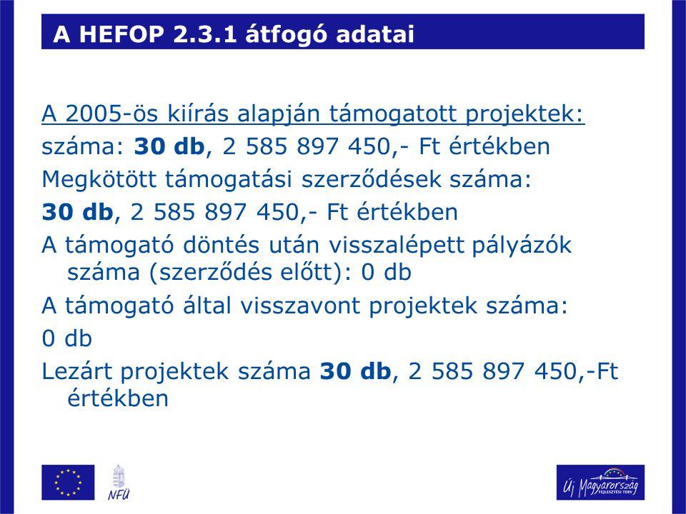 A HEFOP 2.3.1 átfogó adatai A 2005-ös kiírás alapján támogatott projektek: száma: 30 db, 2 585 897 450,- Ft értékben.