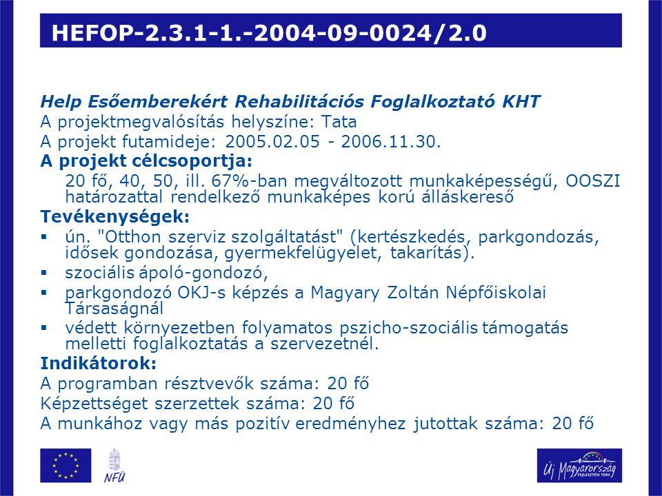HEFOP-2.3.1-1.-2004-09-0024/2.0 Help Esőemberekért Rehabilitációs Foglalkoztató KHT. A projektmegvalósítás helyszíne: Tata.
