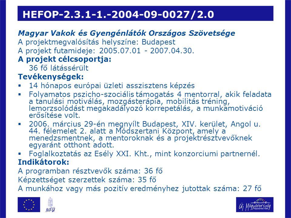 HEFOP-2.3.1-1.-2004-09-0027/2.0 Magyar Vakok és Gyengénlátók Országos Szövetsége. A projektmegvalósítás helyszíne: Budapest.