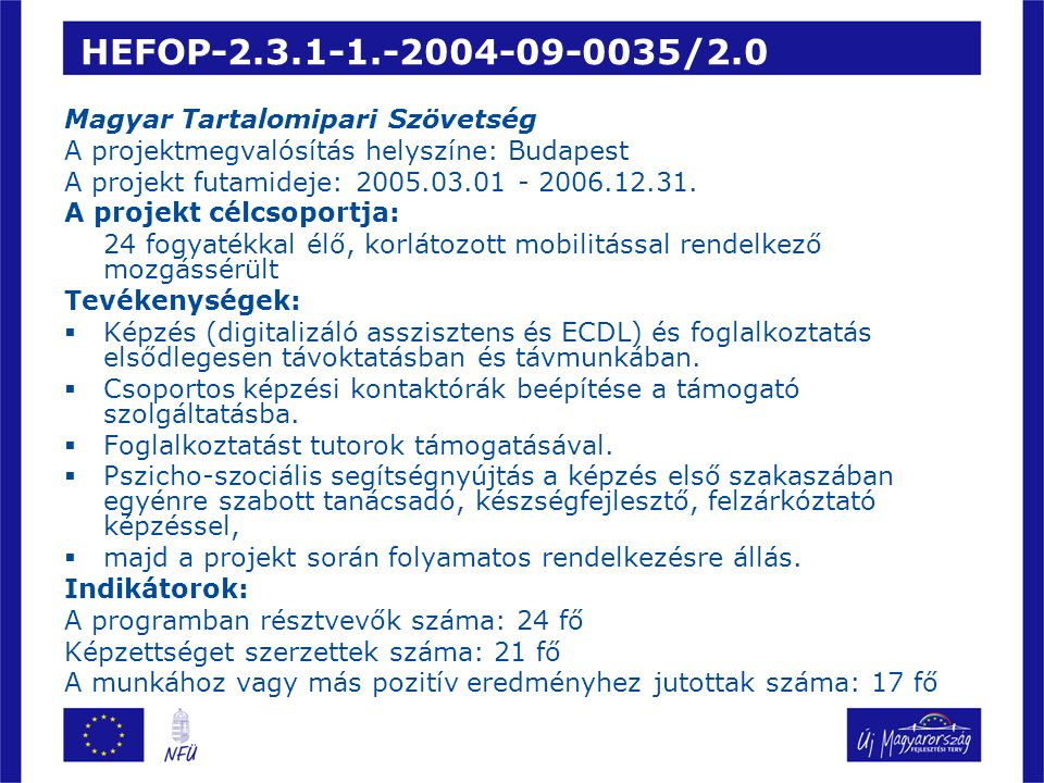 HEFOP-2.3.1-1.-2004-09-0035/2.0 Magyar Tartalomipari Szövetség