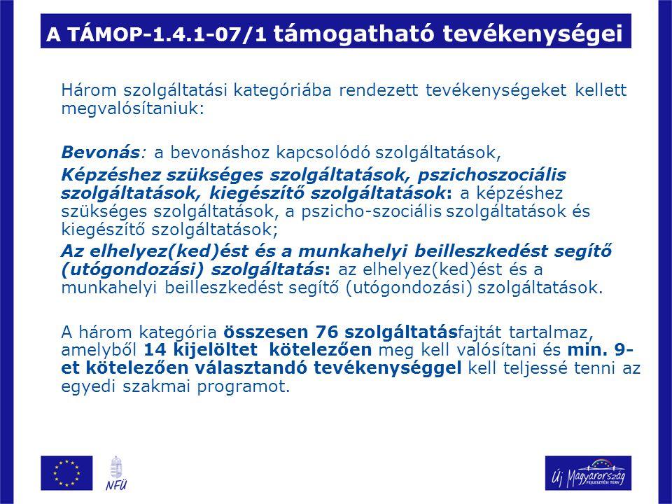 A TÁMOP-1.4.1-07/1 támogatható tevékenységei