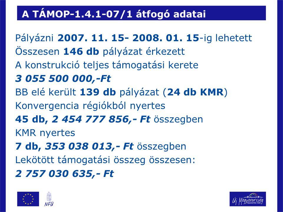 A TÁMOP-1.4.1-07/1 átfogó adatai