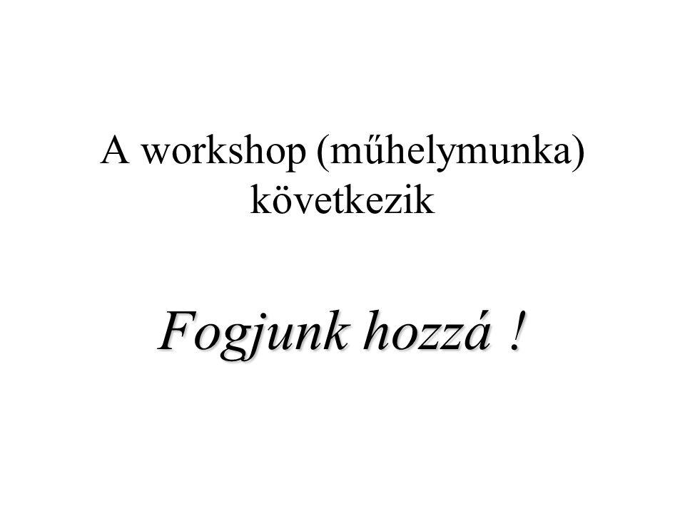 A workshop (műhelymunka) következik