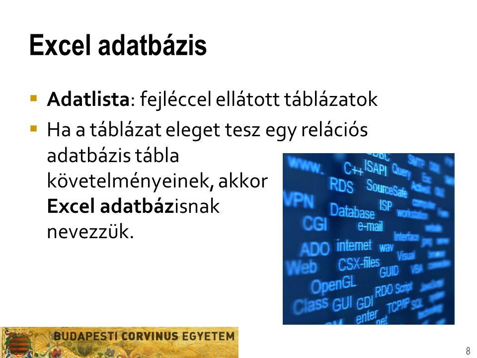 Excel adatbázis Adatlista: fejléccel ellátott táblázatok