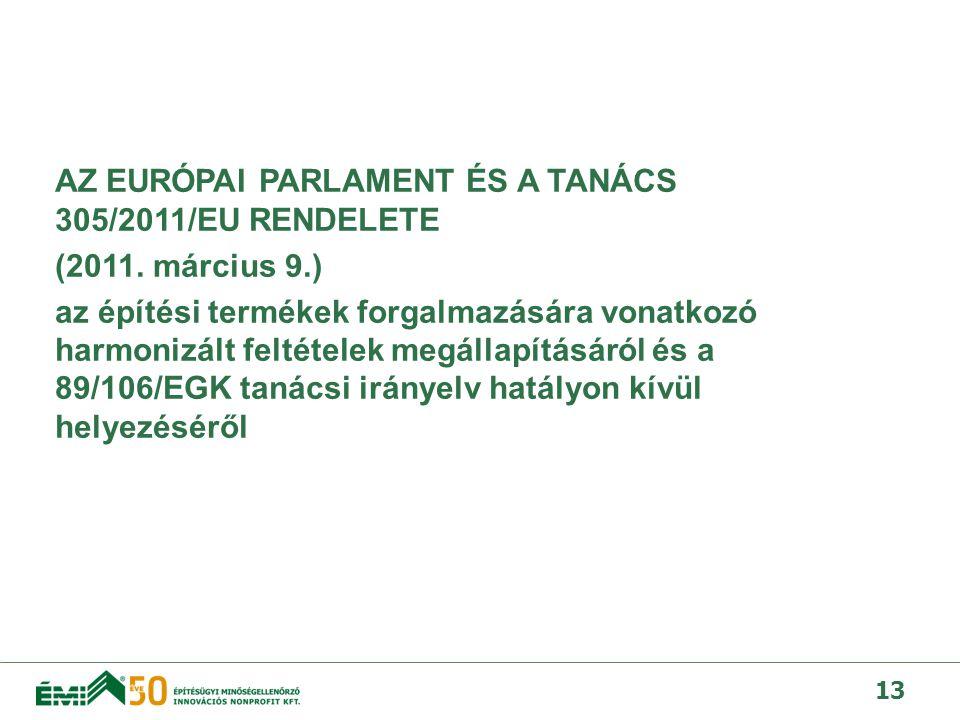 AZ EURÓPAI PARLAMENT ÉS A TANÁCS 305/2011/EU RENDELETE (2011.