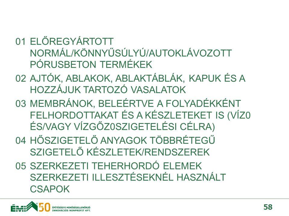 01 ELŐREGYÁRTOTT NORMÁL/KÖNNYŰSÚLYÚ/AUTOKLÁVOZOTT PÓRUSBETON TERMÉKEK 02 AJTÓK, ABLAKOK, ABLAKTÁBLÁK, KAPUK ÉS A HOZZÁJUK TARTOZÓ VASALATOK 03 MEMBRÁNOK, BELEÉRTVE A FOLYADÉKKÉNT FELHORDOTTAKAT ÉS A KÉSZLETEKET IS (VÍZ0 ÉS/VAGY VÍZGŐZ0SZIGETELÉSI CÉLRA) 04 HŐSZIGETELŐ ANYAGOK TÖBBRÉTEGŰ SZIGETELŐ KÉSZLETEK/RENDSZEREK 05 SZERKEZETI TEHERHORDÓ ELEMEK SZERKEZETI ILLESZTÉSEKNÉL HASZNÁLT CSAPOK