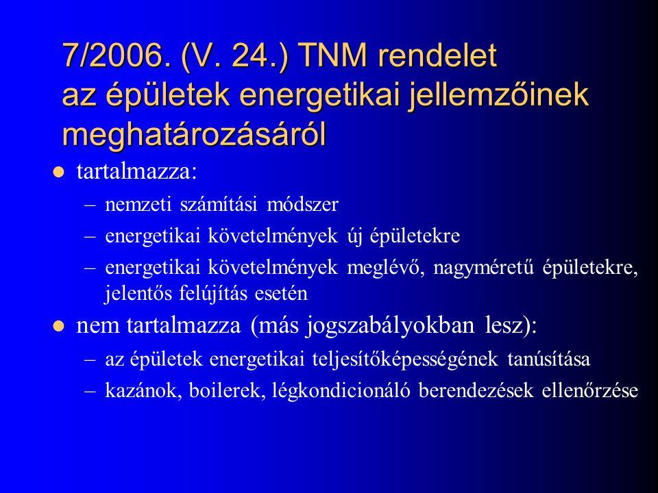 7/2006. (V. 24.) TNM rendelet az épületek energetikai jellemzőinek meghatározásáról