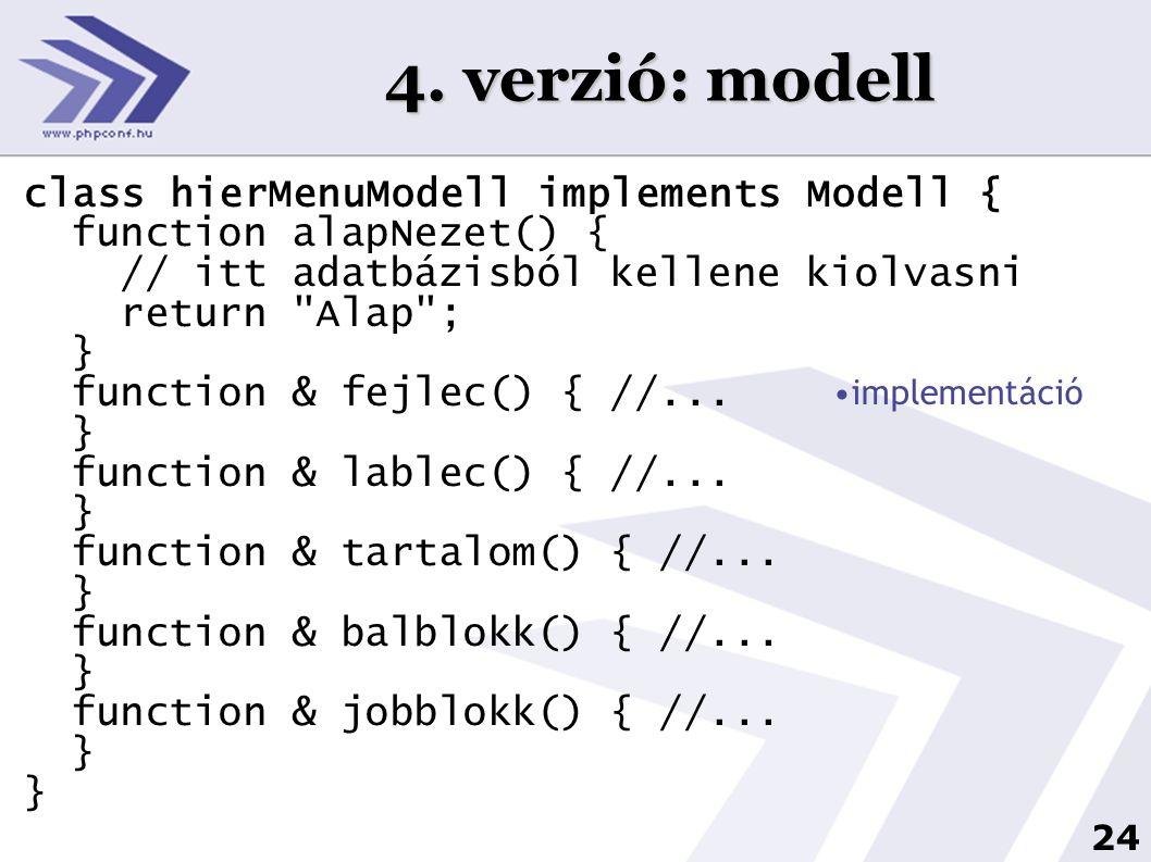 4. verzió: modell