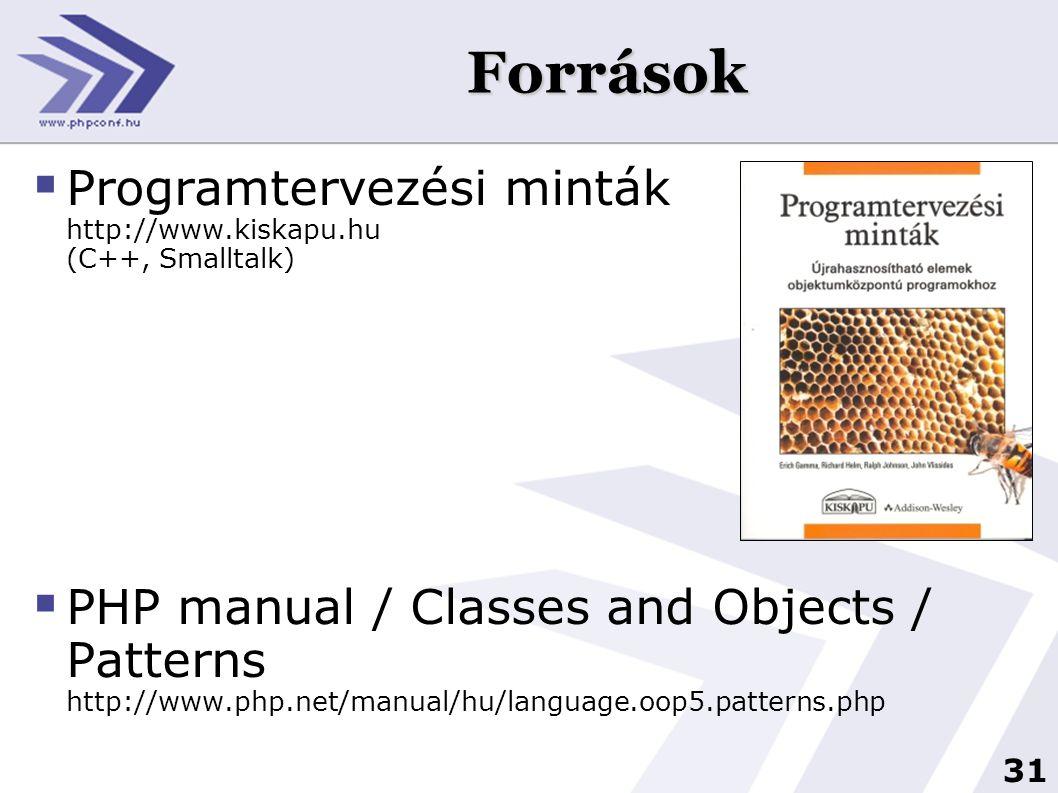 Források Programtervezési minták http://www.kiskapu.hu (C++, Smalltalk)