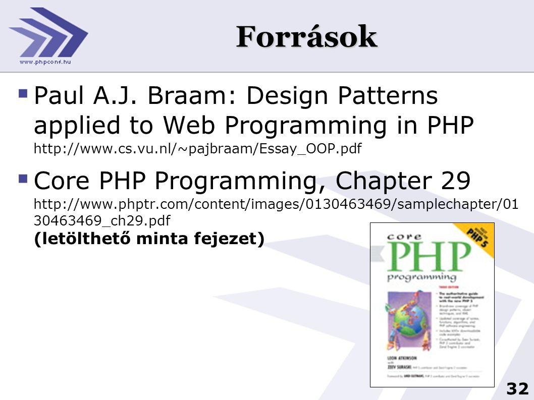 Források Paul A.J. Braam: Design Patterns applied to Web Programming in PHP http://www.cs.vu.nl/~pajbraam/Essay_OOP.pdf.