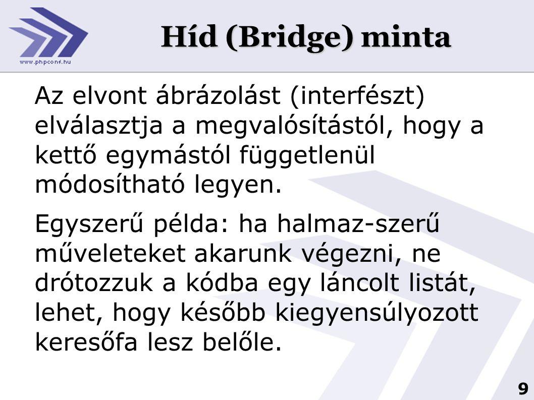 Híd (Bridge) minta Az elvont ábrázolást (interfészt) elválasztja a megvalósítástól, hogy a kettő egymástól függetlenül módosítható legyen.