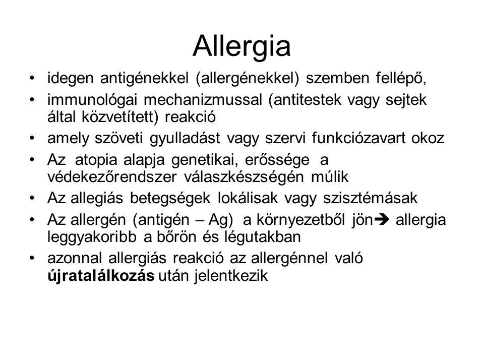 Allergia idegen antigénekkel (allergénekkel) szemben fellépő,