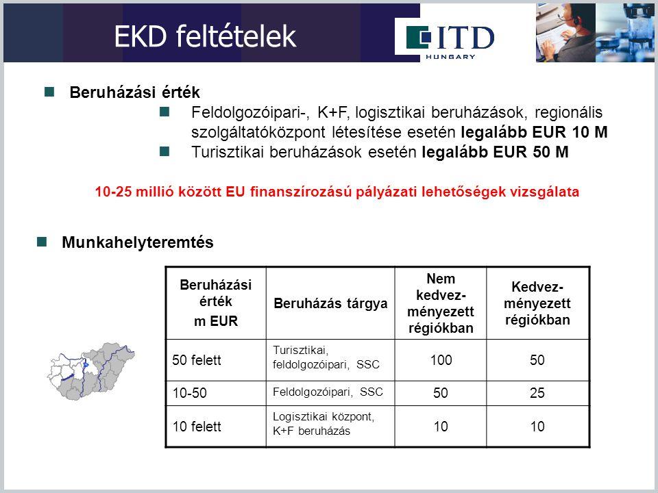 EKD feltételek Beruházási érték