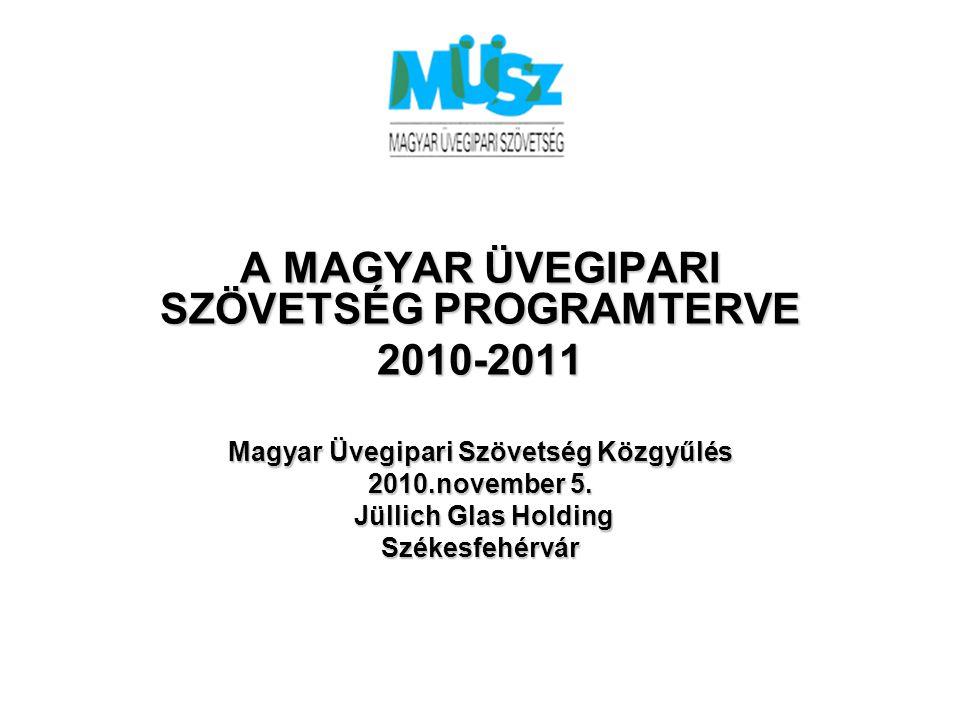 A MAGYAR ÜVEGIPARI SZÖVETSÉG PROGRAMTERVE 2010-2011