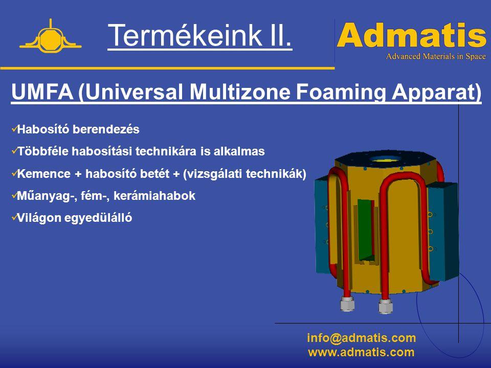 Termékeink II. UMFA (Universal Multizone Foaming Apparat)