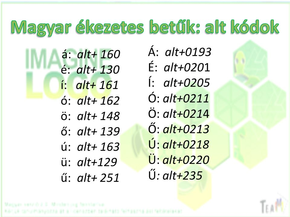 Magyar ékezetes betűk: alt kódok