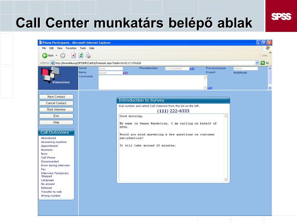 Call Center munkatárs belépő ablak
