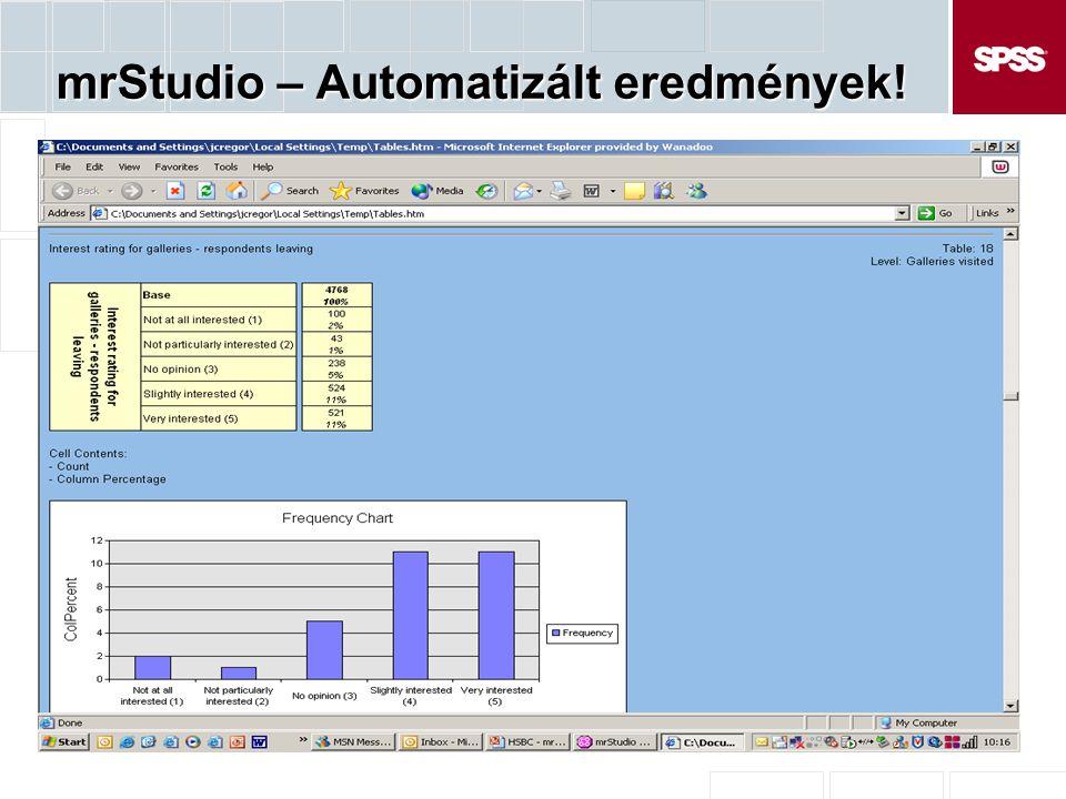 mrStudio – Automatizált eredmények!