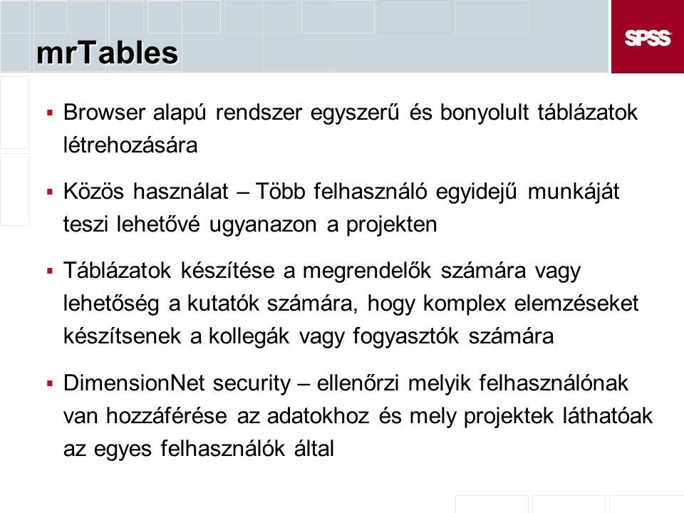 mrTables Browser alapú rendszer egyszerű és bonyolult táblázatok létrehozására.