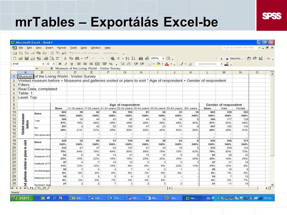 mrTables – Exportálás Excel-be