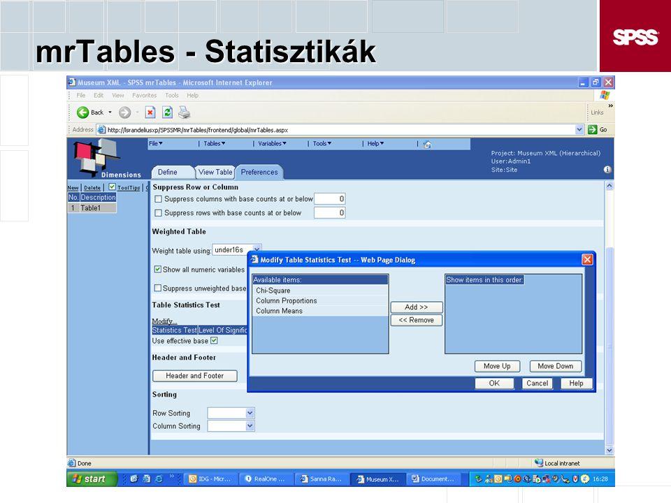 mrTables - Statisztikák