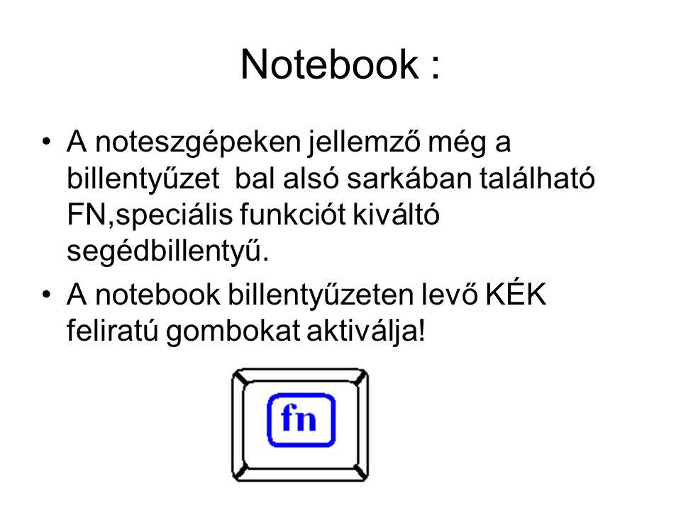 Notebook : A noteszgépeken jellemző még a billentyűzet bal alsó sarkában található FN,speciális funkciót kiváltó segédbillentyű.