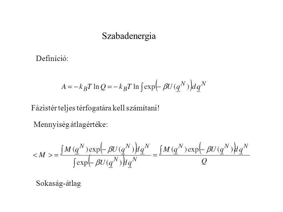 Szabadenergia Definíció: Fázistér teljes térfogatára kell számítani!