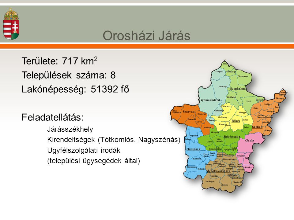Orosházi Járás Területe: 717 km2 Települések száma: 8