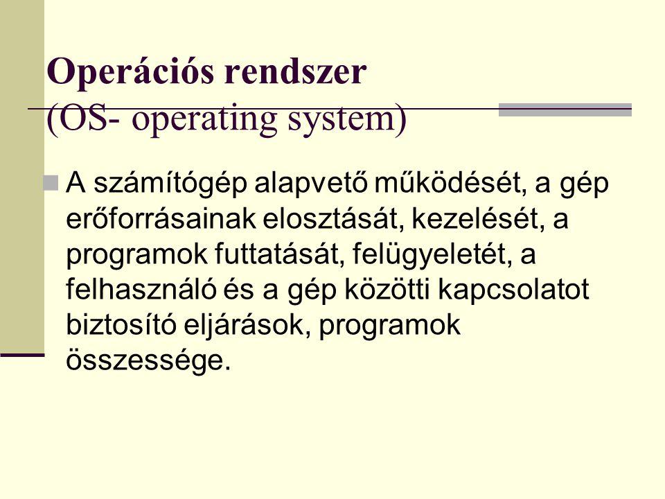 Operációs rendszer (OS- operating system)
