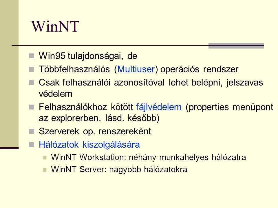 WinNT Win95 tulajdonságai, de