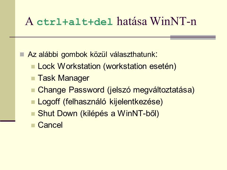 A ctrl+alt+del hatása WinNT-n