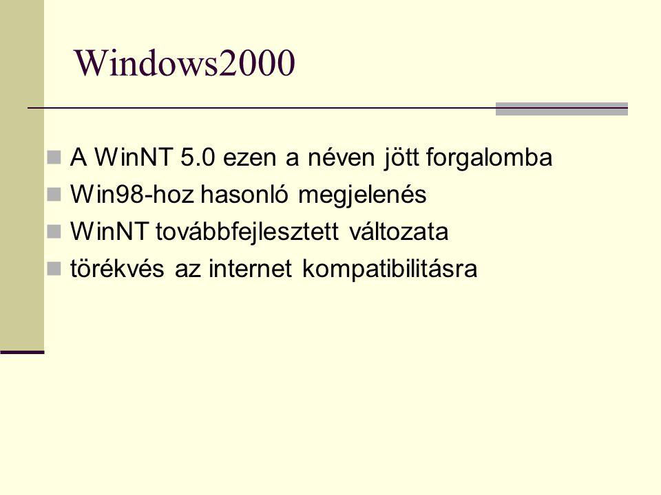 Windows2000 A WinNT 5.0 ezen a néven jött forgalomba