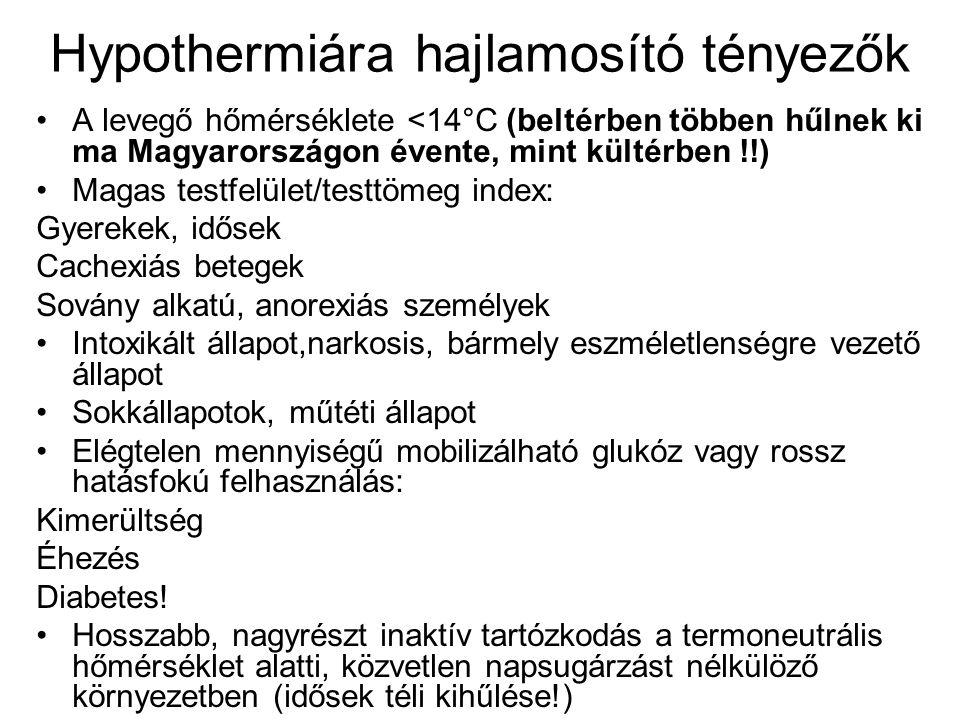 Hypothermiára hajlamosító tényezők