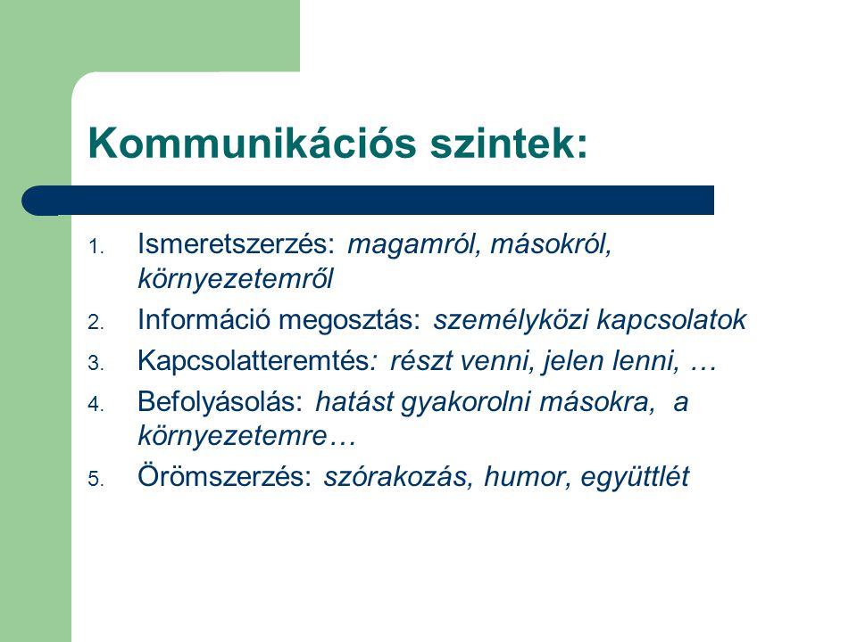 Kommunikációs szintek: