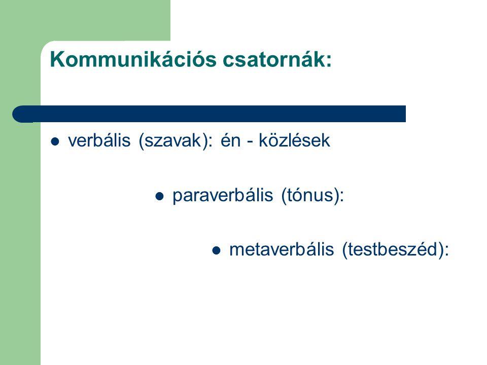 Kommunikációs csatornák: