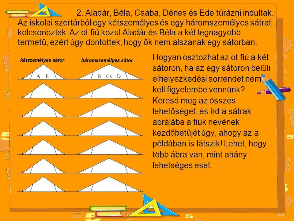 2. Aladár, Béla, Csaba, Dénes és Ede túrázni indultak