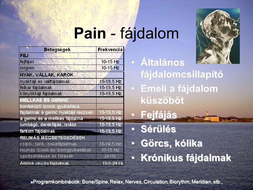Pain - fájdalom Általános fájdalomcsillapító Emeli a fájdalom küszöböt