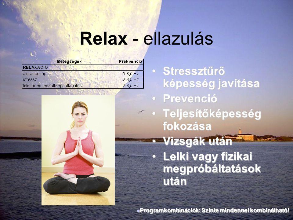 Relax - ellazulás Stressztűrő képesség javítása Prevenció