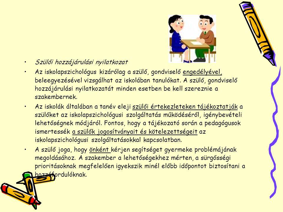Szülői hozzájárulási nyilatkozat