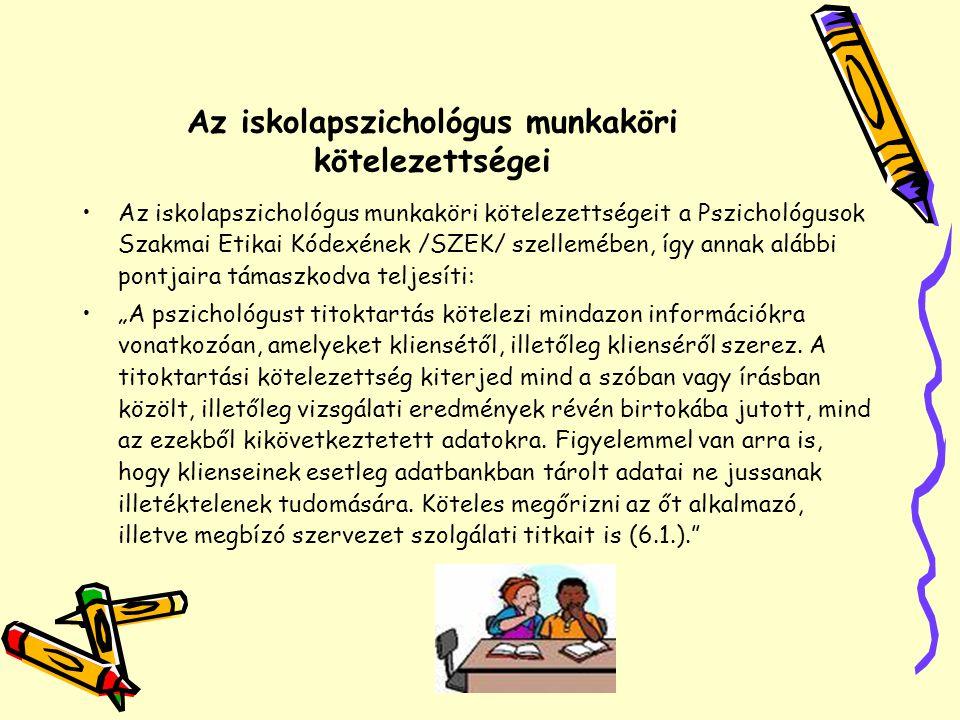 Az iskolapszichológus munkaköri kötelezettségei