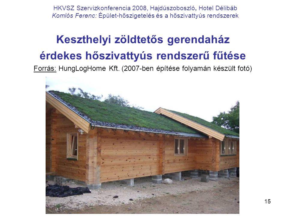 Keszthelyi zöldtetős gerendaház érdekes hőszivattyús rendszerű fűtése