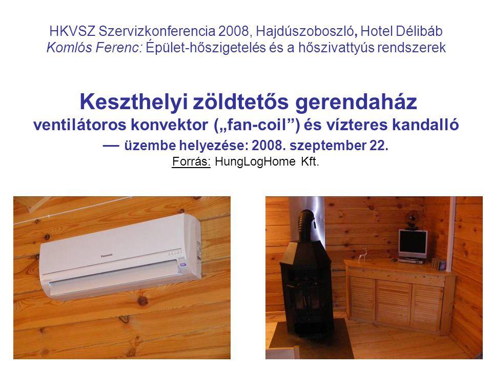 """HKVSZ Szervizkonferencia 2008, Hajdúszoboszló, Hotel Délibáb Komlós Ferenc: Épület-hőszigetelés és a hőszivattyús rendszerek Keszthelyi zöldtetős gerendaház ventilátoros konvektor (""""fan-coil ) és vízteres kandalló — üzembe helyezése: 2008."""