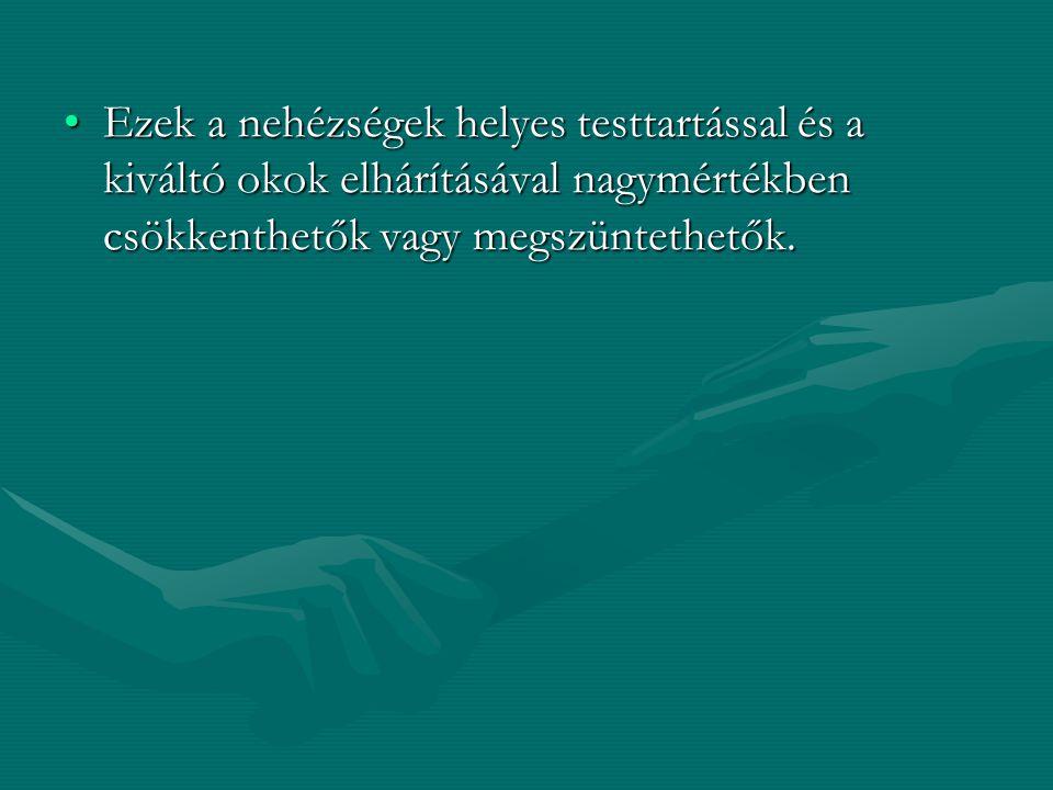 Ezek a nehézségek helyes testtartással és a kiváltó okok elhárításával nagymértékben csökkenthetők vagy megszüntethetők.