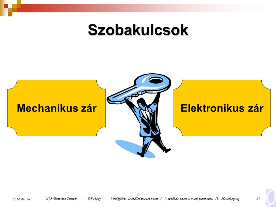 Szobakulcsok Mechanikus zár Elektronikus zár 2017.04.03.