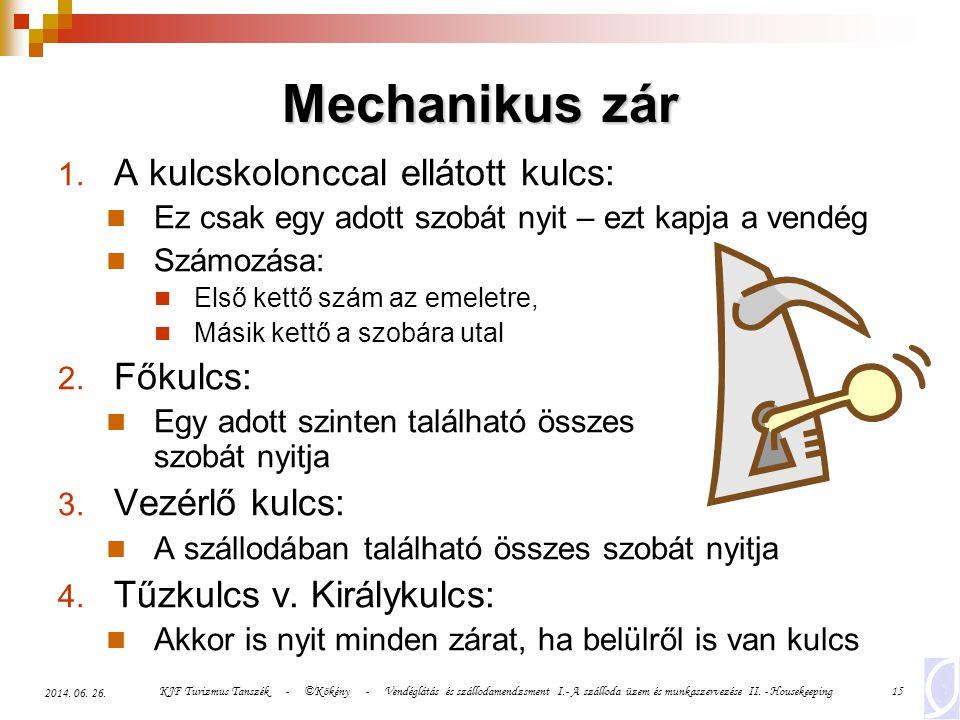Mechanikus zár A kulcskolonccal ellátott kulcs: Főkulcs: