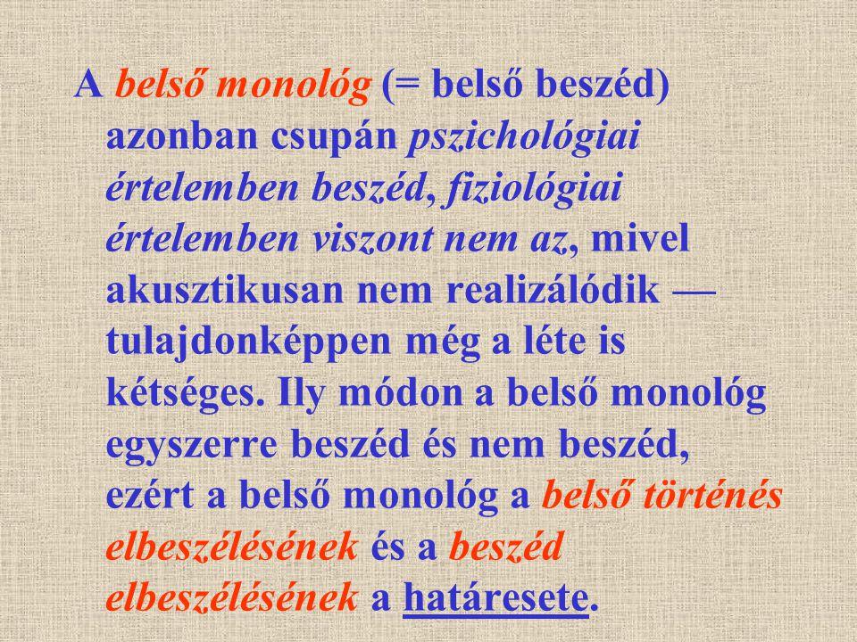 A belső monológ (= belső beszéd) azonban csupán pszichológiai értelemben beszéd, fiziológiai értelemben viszont nem az, mivel akusztikusan nem realizálódik — tulajdonképpen még a léte is kétséges.
