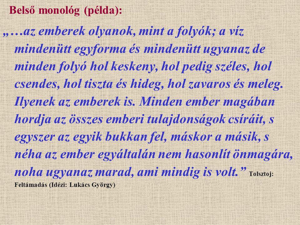 Belső monológ (példa):